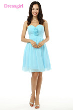 e16e3f289 Nuevo 2018 barato Vestidos de dama de honor Bajo 50 a-line novia corto mini  gasa turquesa boda Vestidos