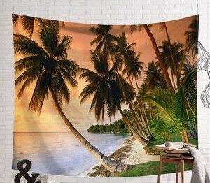 Image 2 - CAMMITEVER Tramonto Blu Mare Verde Albero di Cocco Spiaggia di Sabbia Arazzo Appeso A Parete Arazzi Boho Copriletto Yoga Zerbino Coperta