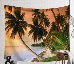 Image 2 - CAMMITEVER закат голубое зеленое море кокосовое дерево песчаный пляж гобелен настенный гобелен Бохо покрывало Коврик для йоги одеяло