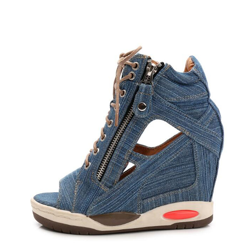 все цены на 2017 new denim is bottom thick waterproof with wedge open-toed sandals in raising fish mouth shoes sexy fashion high heels онлайн