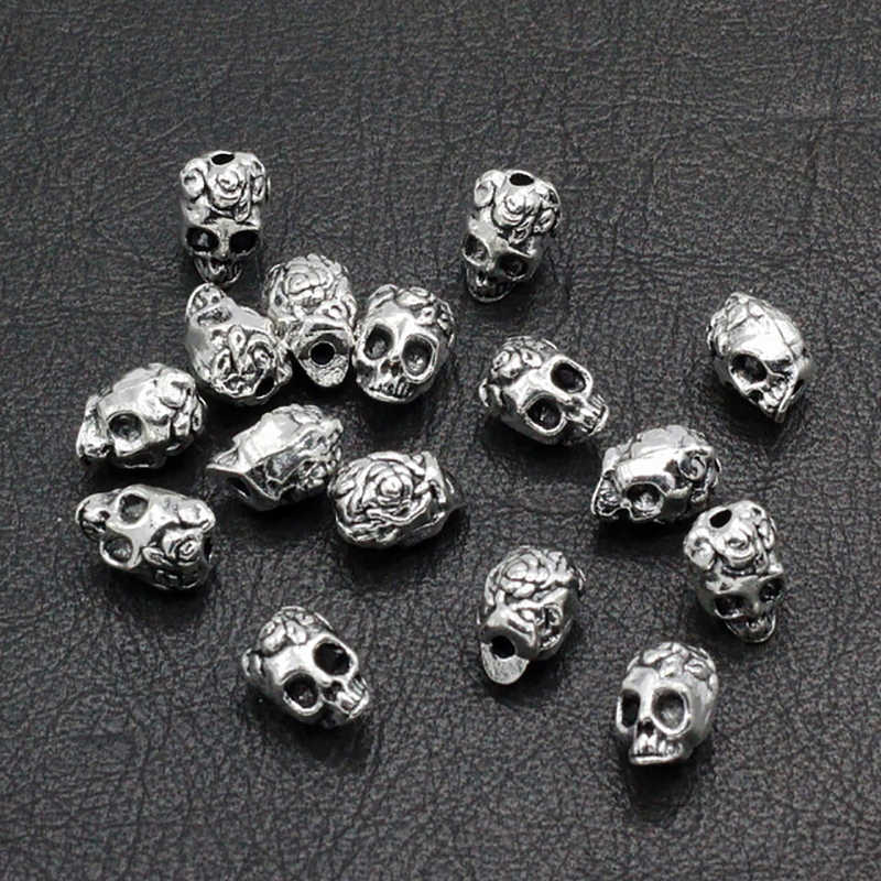 20pcs/lot Antique Silver Gold Skull Head Charms for Jewelry Making DIY Bracelets Beads Charm Jewelery Skull Alloy Accessories
