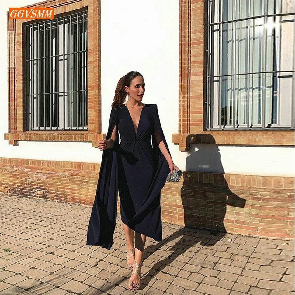 Fashion Dark Navy   Prom     Dresses   Short 2019 Cheap Formal   Dress     Prom   Women Party V-Neck Stretch Fabric Flimsy Spandex Knee Length