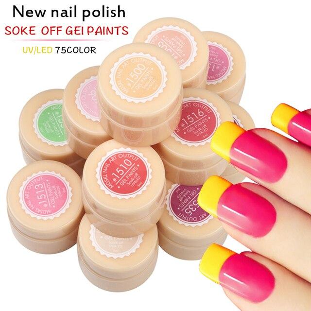 Hot Selling MDSKL Painting Gel 5ML LED Lamp 75 Pure Solid Colors Gel Polish Nail Art Design Nail Gel Varnish Paint Nail Glue