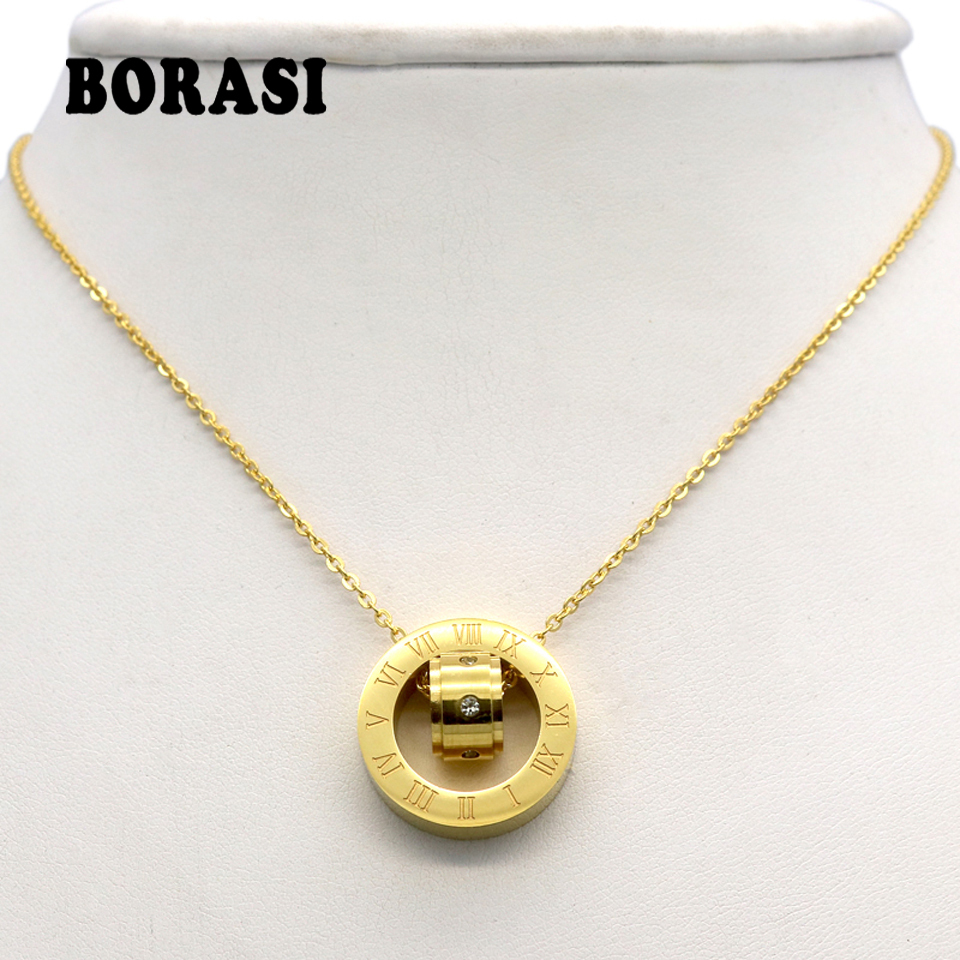 Fashion Brand Women Jewelry Gold Color Roman Letter Ure Clear Simply Turnable Small Round Cubic Zirconia Pendant Necklace