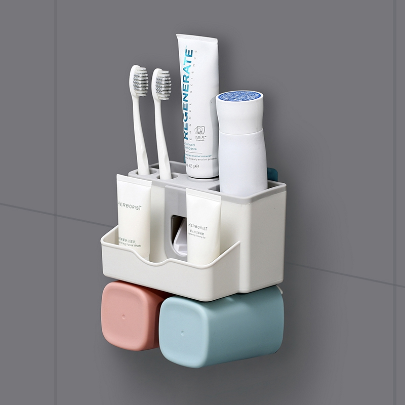 Large-capacity Couple Toothbrush Holder Wash Set with Squeezed Toothpaste Wall Style Storage Box Toothpaste Dispenser image