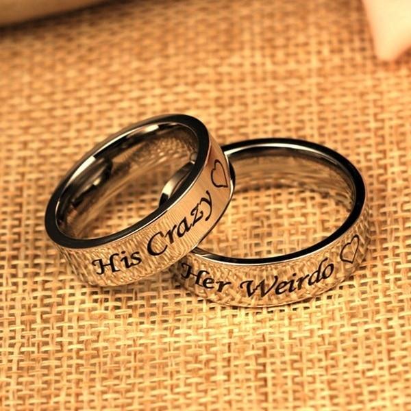 Ее Чудик Титан Сталь кольцо-его и ее Пару Кольцо обручальное Юбилей Обручение Promise Ring