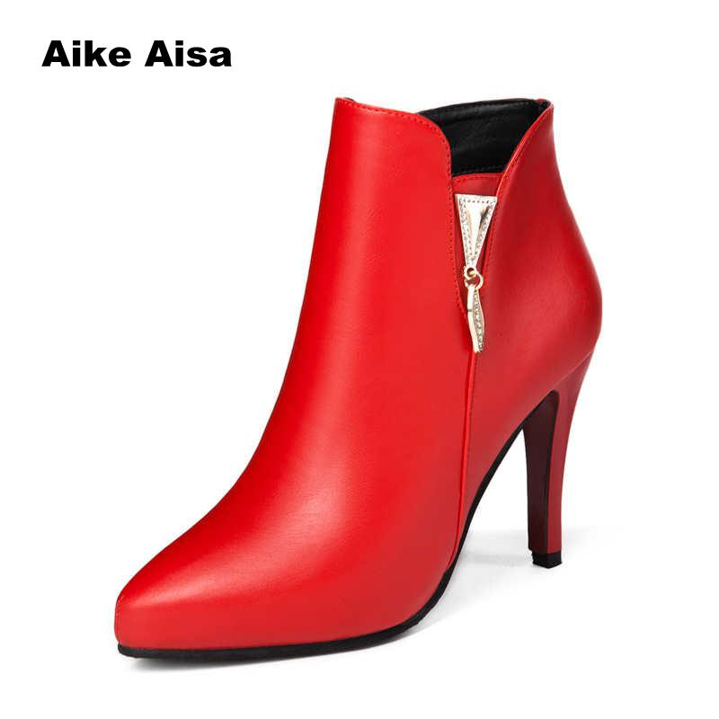 2019 Spring Autumn Stiletto Thin High Heels Pointed Toe Faux Leather Zipper Style Sexy Ankle Womens Boots Bota Feminina W023 mid calf pointed toe cowboy boot stiletto thin heels womens riding boots beading buckle adhesive euro pure color faux fur