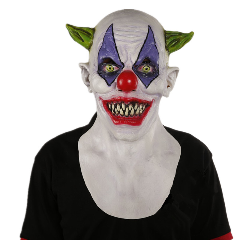 Deluxe Giggles Creepy Clown Latex Mask Mascaras Halloween <font><b>Terror</b></font> Costume Scary Cosplay Accessory image