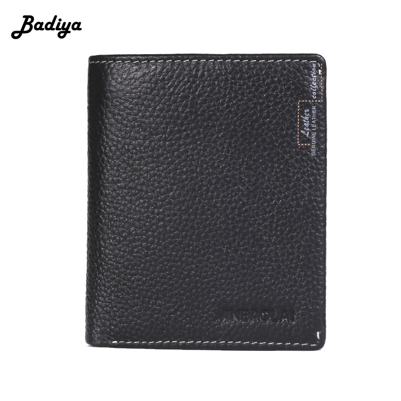 2018 Classic Short Bifold Wallet for Men Genuine Leather Small Short Purse Solid Color