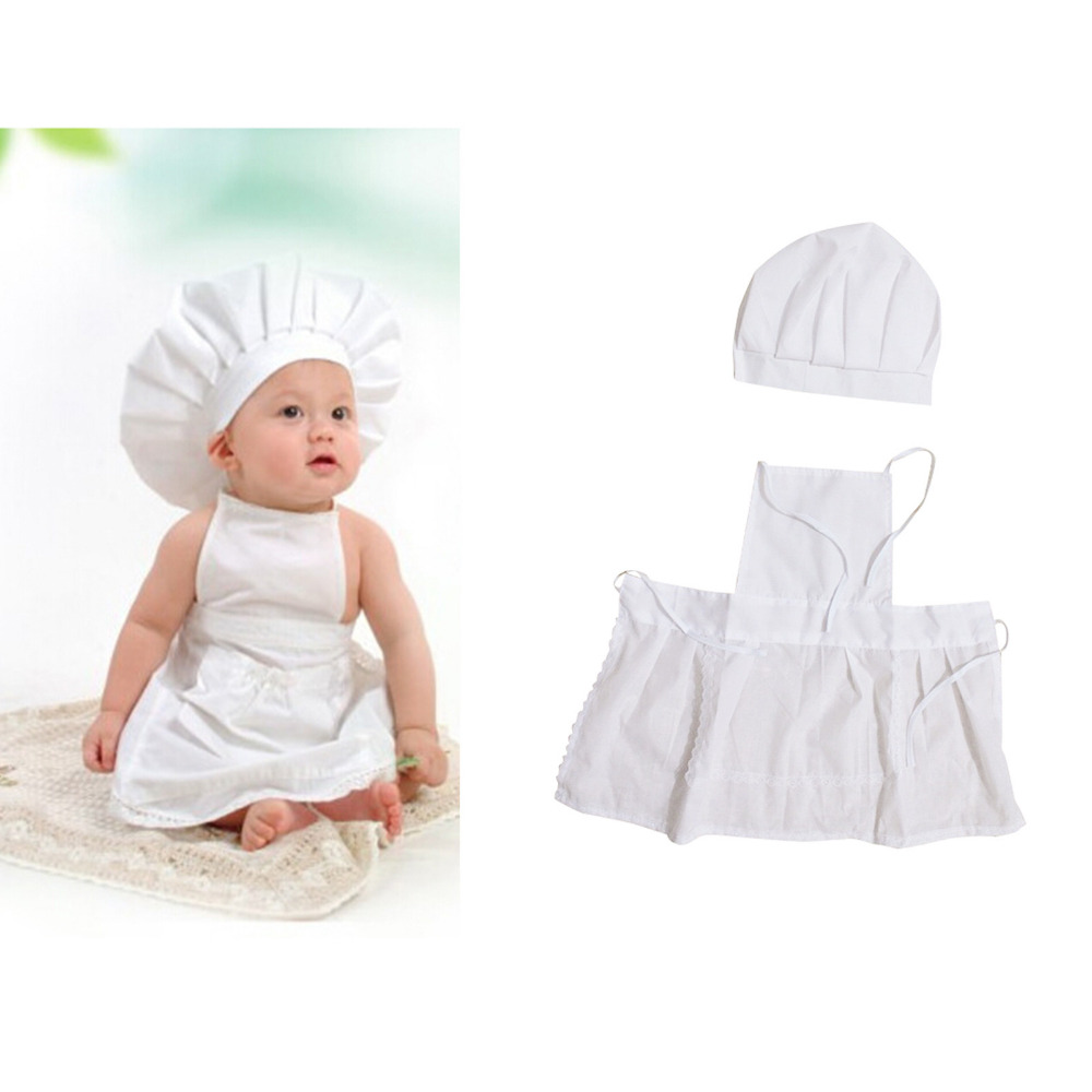 Cute Baby White Cook Costume Photo Photography Prop Newborn Infant Hat Apron Chef Clothes DIY Funning Booth Props for Kids cute newborn baby girls boys crochet knit costume photo photography prop outfit one size baby bodysuit hat 2pcs