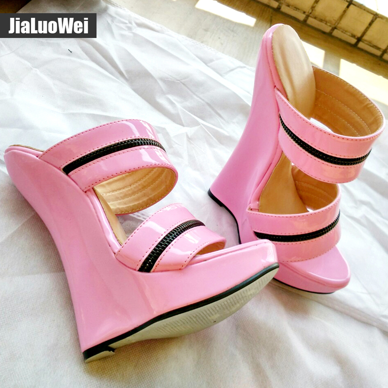 Women Sexy High Wedges Heels Shoes Platform Patent Leather Ankle Strap Sandals Fashion Summer Pumps Ladies Shoes Pluse szie in High Heels from Shoes