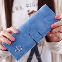55slots Id Holder 2015 Hot Sale Women Lady Candy Color Nubuck Leather Solid Slim Mini Wallets