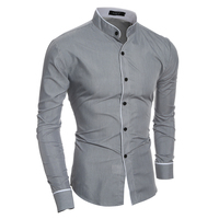 Fashion Casual Men Shirt Long Sleeve Mandarin Collar Slim Fit Shirt Man Korean Business Mens Dress