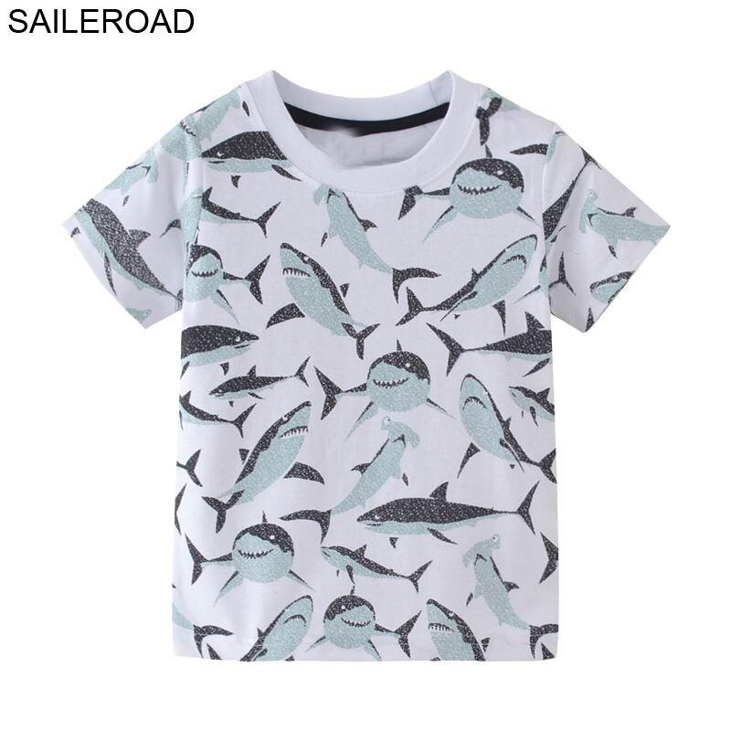 SAILEROAD 2-7T Cartoon Animal Shark Baby Boy Tshirt For Children's Shirts For Kids Boy's Tops Tees Clothing 2019 Kid T Shirts