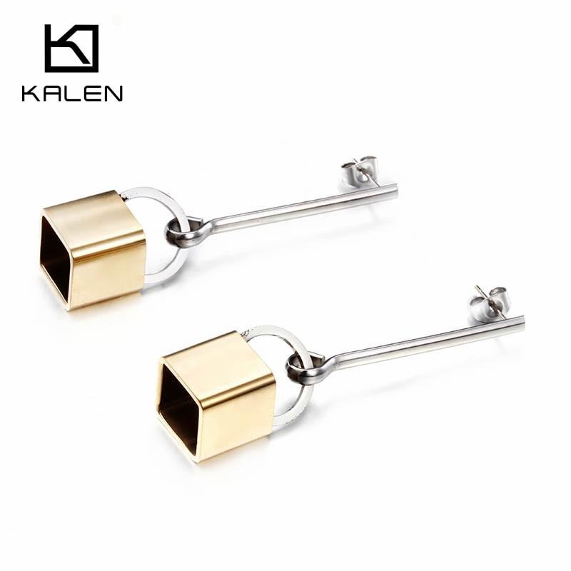 Kalen Wholesale Jewelry Earrings Fashion Cheap Stainless Steel Italian Gold Plated Lock Drop Earrings For Girls Women Accessory