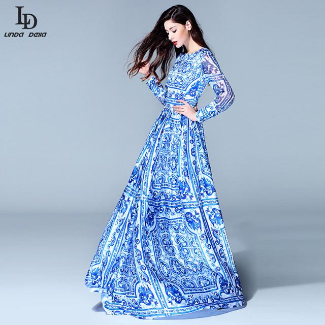 HIGH QUALITY New 2015 Fashion Women's Long Sleeve Vintage Blue And White Print Dress Brand Maxi Dress