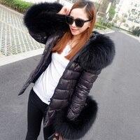 Высокое качество 2019 Новая повседневная черная зимняя куртка женская меховая куртка женские куртки бренды черный натуральный мех пальто Ве
