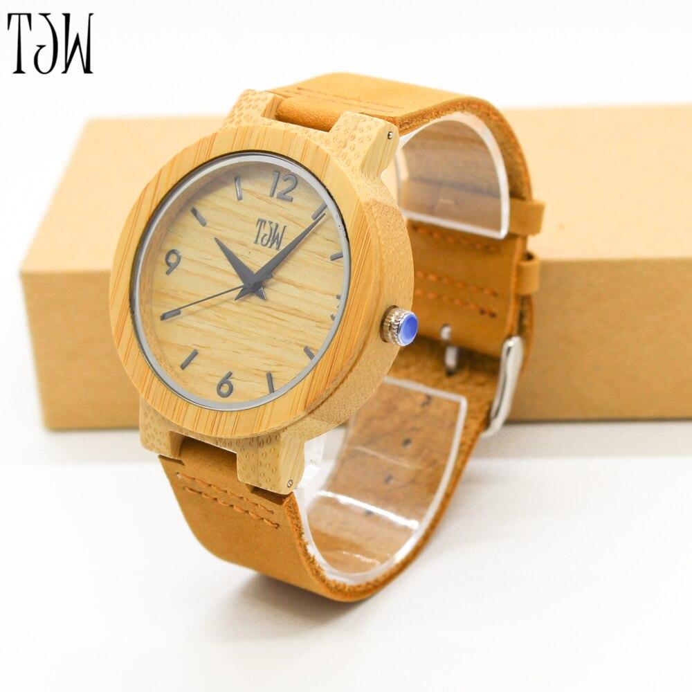 Tjw высокое Для мужчин Для женщин кварцевые наручные часы ручной работы минималистский современный Пояса из натуральной кожи браслет мужско…