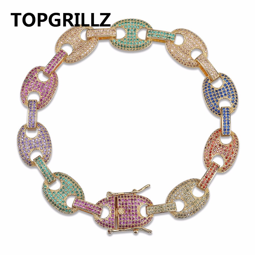 TOPGRILLZ Hip Hop Iced Out Bling Bracelet Copper Gold Silver Color Micro Pave Multicolor Bracelets Charm For Men Gifts 7 8 inch topgrillz spikes rivet stud mens rivet charm bracelets 2018 iced out gold silver color bracelets for men hip hop punk jewelry