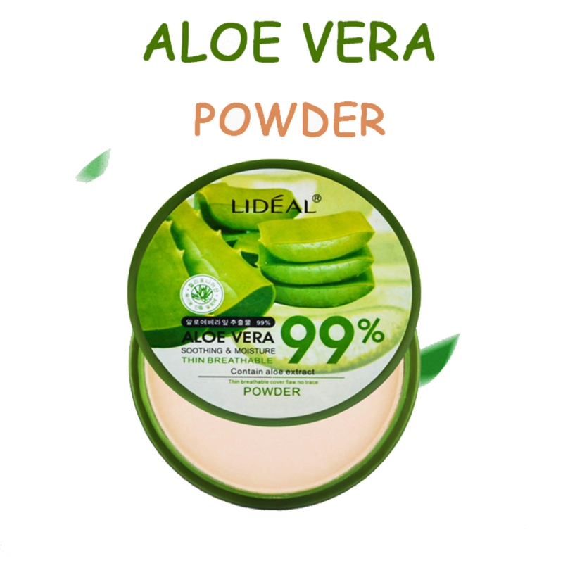 1pcs Natural Aloe Vera Moisturizing Smooth Foundation Pressed Powder Makeup Concealer Pores Cover Face Whitening Brighten Powder image