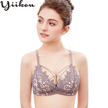 Womens seamless sexy lace triangle cup bra gathered female no steel ring thin underwear