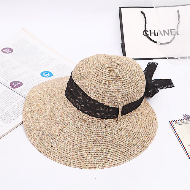 2017 Fashion Summer Hats for Women Simple Wide Large Brim Floppy Beach Sun  hat Straw Hat Cap with Black Bowknot sombrero chapeu c2d546879