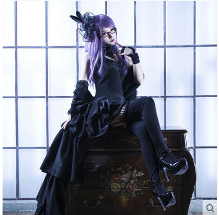 Anime Tokyo Ghoul Cosplay kamishiro rize Cos Halloween Party Full set 3in1(Dresses+Shawl + Socks)