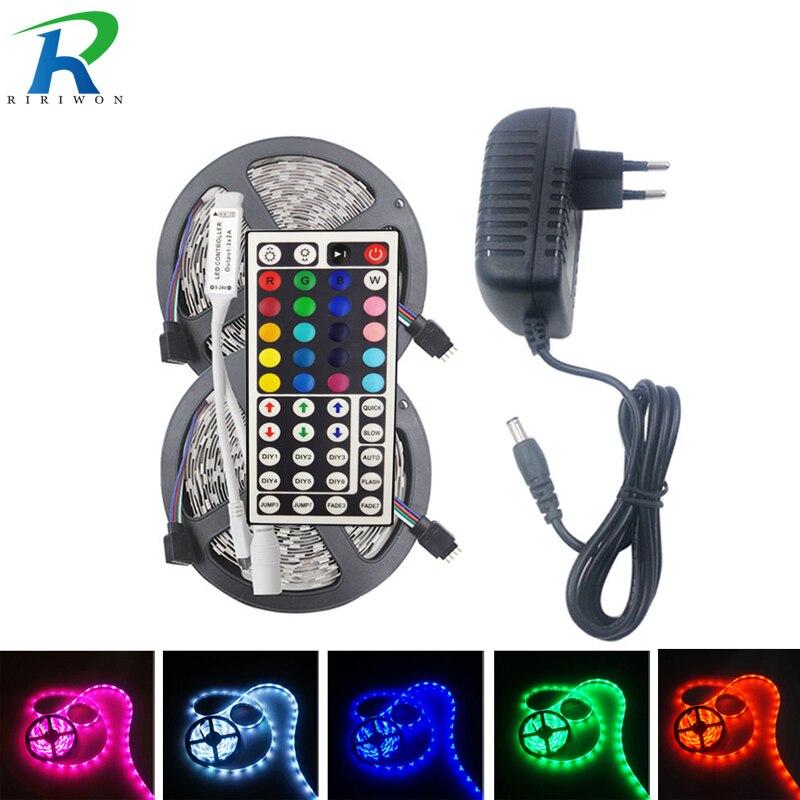 5050 RGB LED tira de luz Flexible 5 m 10 m 15 m de tira de RGB DC 12 V SMD5050 lámpara de neón Tiras de luz LED + 44 controlador clave + adaptador de corriente