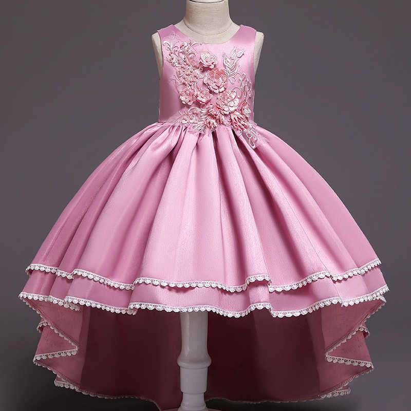Kid Girls Elegant Wedding Pearl Petals Girl Dress Princess Party Pageant Long Sleeve Lace Tulle for 3 4 5 6 7 8 9 10 11 12 Yrs