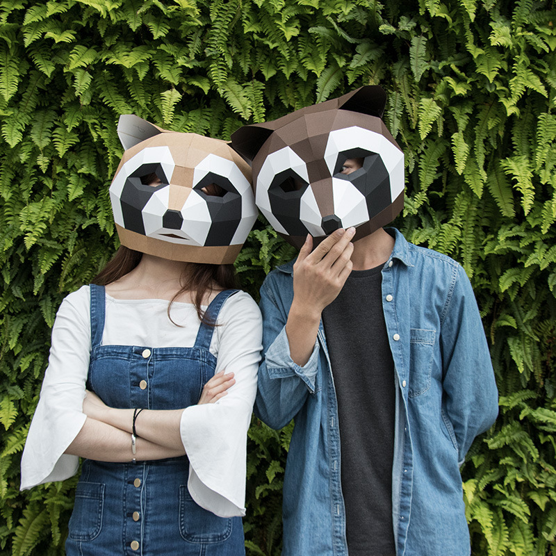 Fashion Style Paper Wigs Diy Kit Party Tidy Funny Photography Little Raccoon Hood Mask Diy Paper Animal Mask Novel (In) Design;