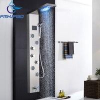 Brushed Nickel Bath Shower Faucet Body SPA Massage Shower Panel Jet Nozzle Digital Display LED Shower Head Tower Shower Column