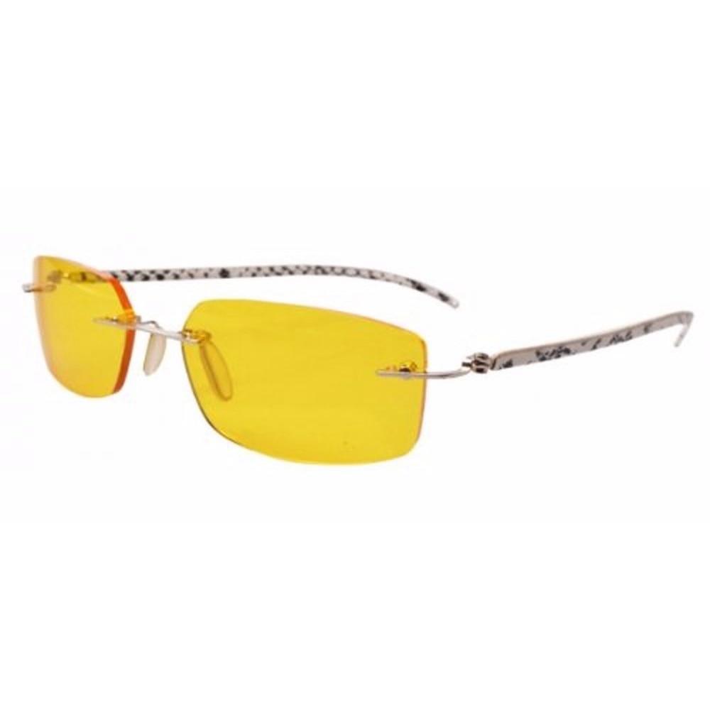 P002 Sem Aro Templos De Couro Noite óculos de Condução Óculos de Lente  Amarela 8411b27316