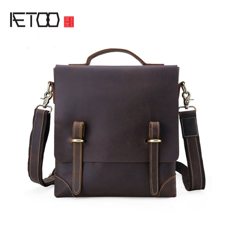 AETOO Classic leather fashion casual men's bag high-grade first layer of leather men's business diagonal package men package qiaobao women general 100% leather handbags tide europe fashion first layer of cowhide women bag hand diagonal cross package