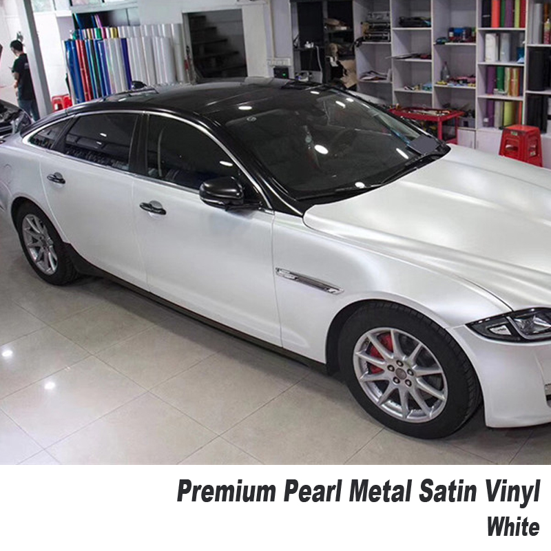 premium quality satin Pearl white Vinyl Car Wrap Air Bubble Free For Car Wrapping Foil size 5ft X 65ft/Roll high quality stretchable chrome black vinyl wrap sheet roll for car wrapping air free bubble