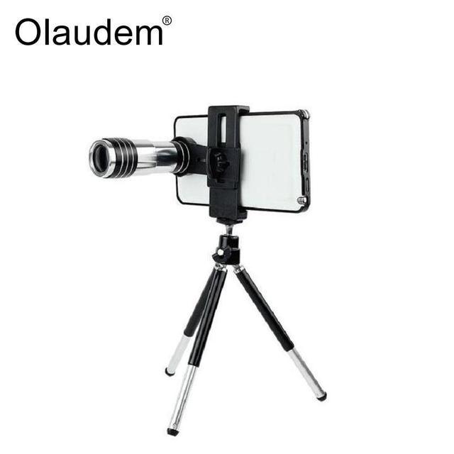 Universal 12x de zoom óptico del telescopio lente de la cámara con el trípode para iphone 5 5S 6 6 6 s 6 s plus samsung s5 s6 s7 teléfono moble CL12X