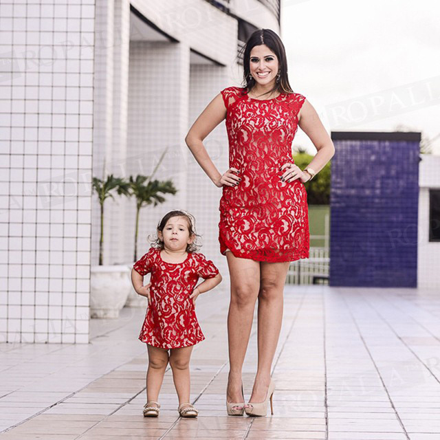 3bb3d763ee Matching Mother Daughter Clothes Mom Daughter Dresses Red lace hollow out  A-line wrap mom and girl casual dress family look