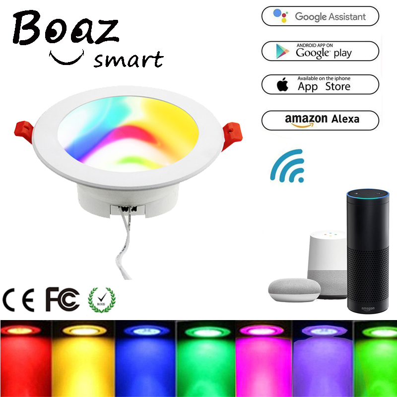 BoazSmart Wifi Smart Led Downlight 10W Color Changing RGBW Dimmable bulb Voice Control Alexa Echo Google Home IFTTT Tuya