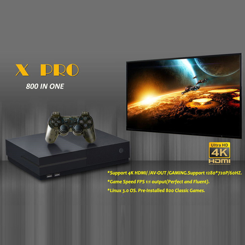 HD Video Game Console 64 Bit X Pro Built in 800 Classic Games Support 4K HDMI /AV out Retro Games Console to TV for family