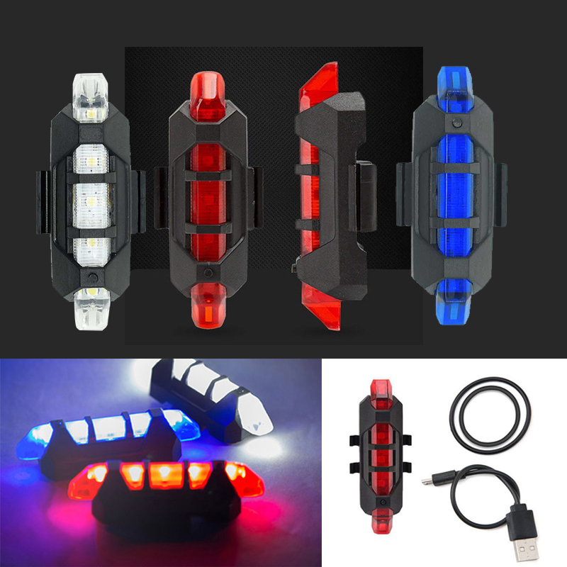 WasaFire Rechargeable USB LED Bike Tail Light Taillight Bicycle Lamp Flash Lights MTB Safety Warning Bicycle Front Rear Light