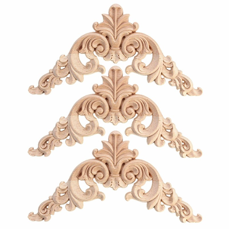 Mtgather 1pc Wood Oak Carved Corner Onlay Lique Furniture Unpainted Decorative Figurines Wooden Miniatures Best Price In Brackets From Home