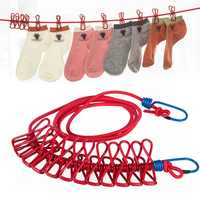 Portable Camping Equipment Travel Stretchy Clothesline Outdoor Windproof Clothes Line With 12 Clamp Clips Hooks Outdoor Tool