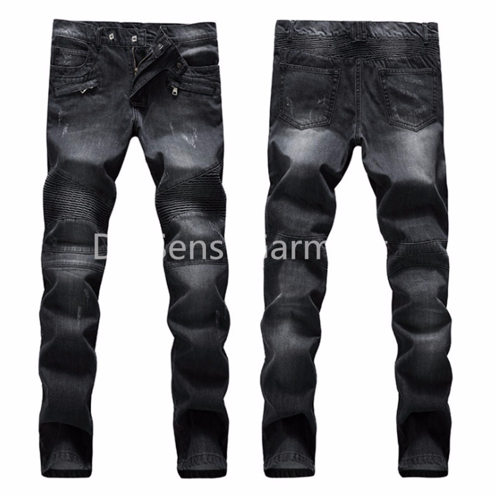 2016  Fashion Men Biker Jean Skinny Ripped Motorcycle Denim Jeans Casual Patchwork Stripe Straight Joggers Pants For Male
