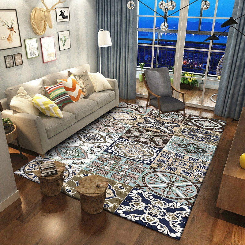 Classic Geometric Bohemian Style Bedside Area Rugs Living Room Floor Mat Coffee Table Sofa Bedroom Blanket Large Rug And Carpets
