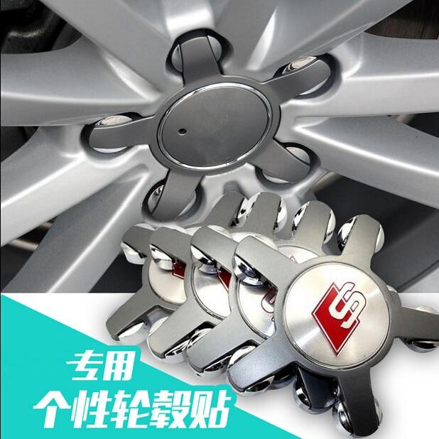 4pcs/1set Car Styling S Car Center Wheel Hub Cap Cover Sticker Decal For S-line s-line AUDI A1 A3 A4L A5 A6L A8 Q5 Q7 TT S-line