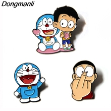 P3746 Dongmanli Anime Doraemon Cat Metal Enamel Pins and Brooches for Lapel Pin Backpack Bags Badge Cute Gifts Collar Jewelry
