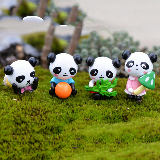 4 Pcs/set Furnishing Articles Accessories Cartoon Panda Doll PVC Crafts Garden  Ornament Micro Landscape