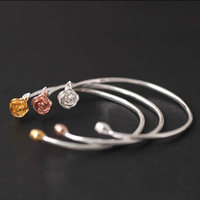 Authentic 925 Sterling Silver Bracelet Handmade Rose Flower Original Design Adjustable Bangles For Women Fine Jewelry