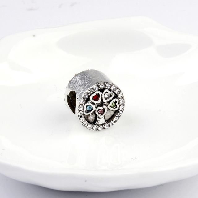 5pcs silver color colorful crystal heart tree of life bead fit 5pcs silver color colorful crystal heart tree of life bead fit pandora bracelet necklace pendant original mozeypictures Image collections