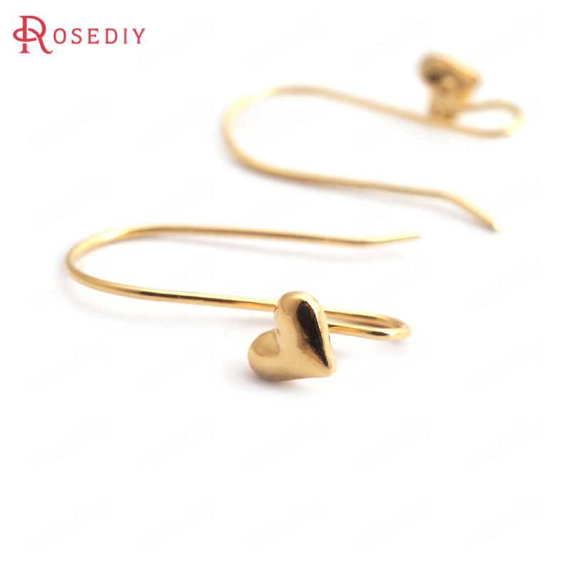 (35207)20PCS Height 21MM Heart 6x5MM 24K Gold Color Brass Heart Earrings Hooks High Quality Diy Jewelry Findings Accessories