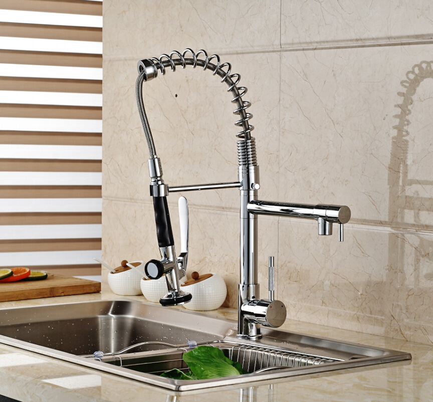 Single Handle Spring Kitchen Sink Faucet Mixer Taps with Hot Cold Water Handsfree Sprayer Head